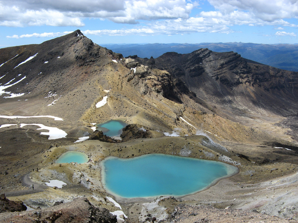 Emerald lakes surrounded by some very lucky hikers
