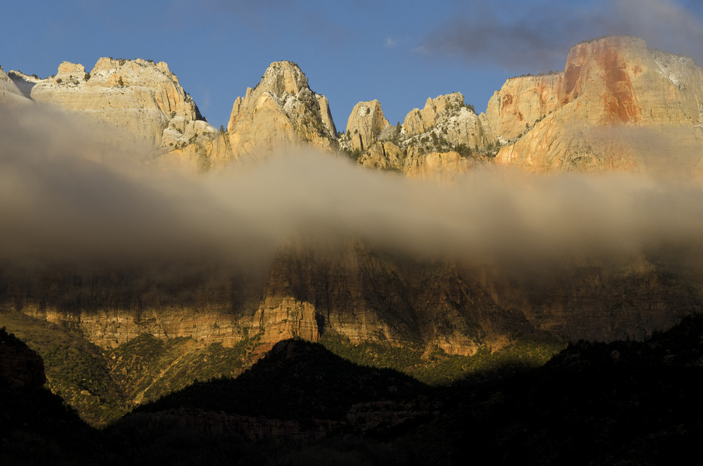 Zion National Park shrouded in morning mist