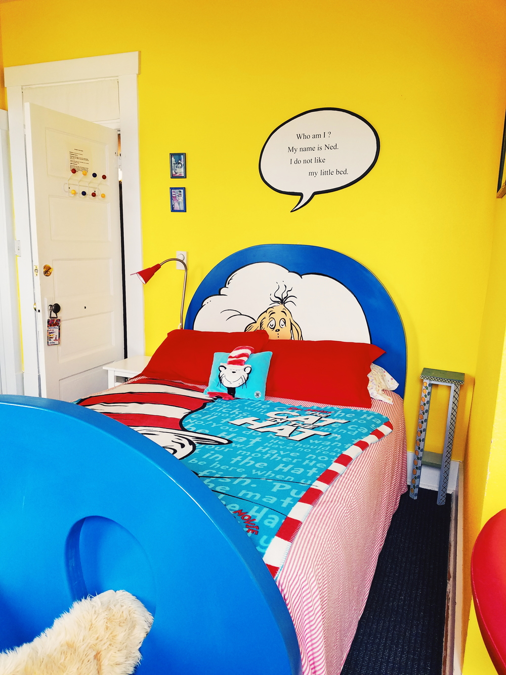 Dr Suess room - of course! The bed has furry feet!