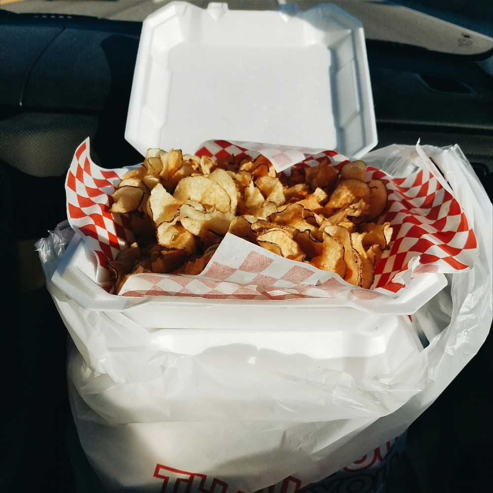 Four full orders of ribbon fries from Country Boys - heaven!