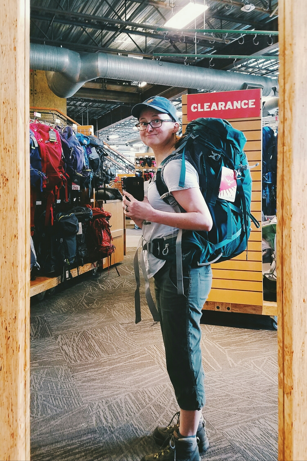 Trying on packs at REI. Luckily the only one that fit was also my favorite.I should be able to comfortably carry lots more in this!