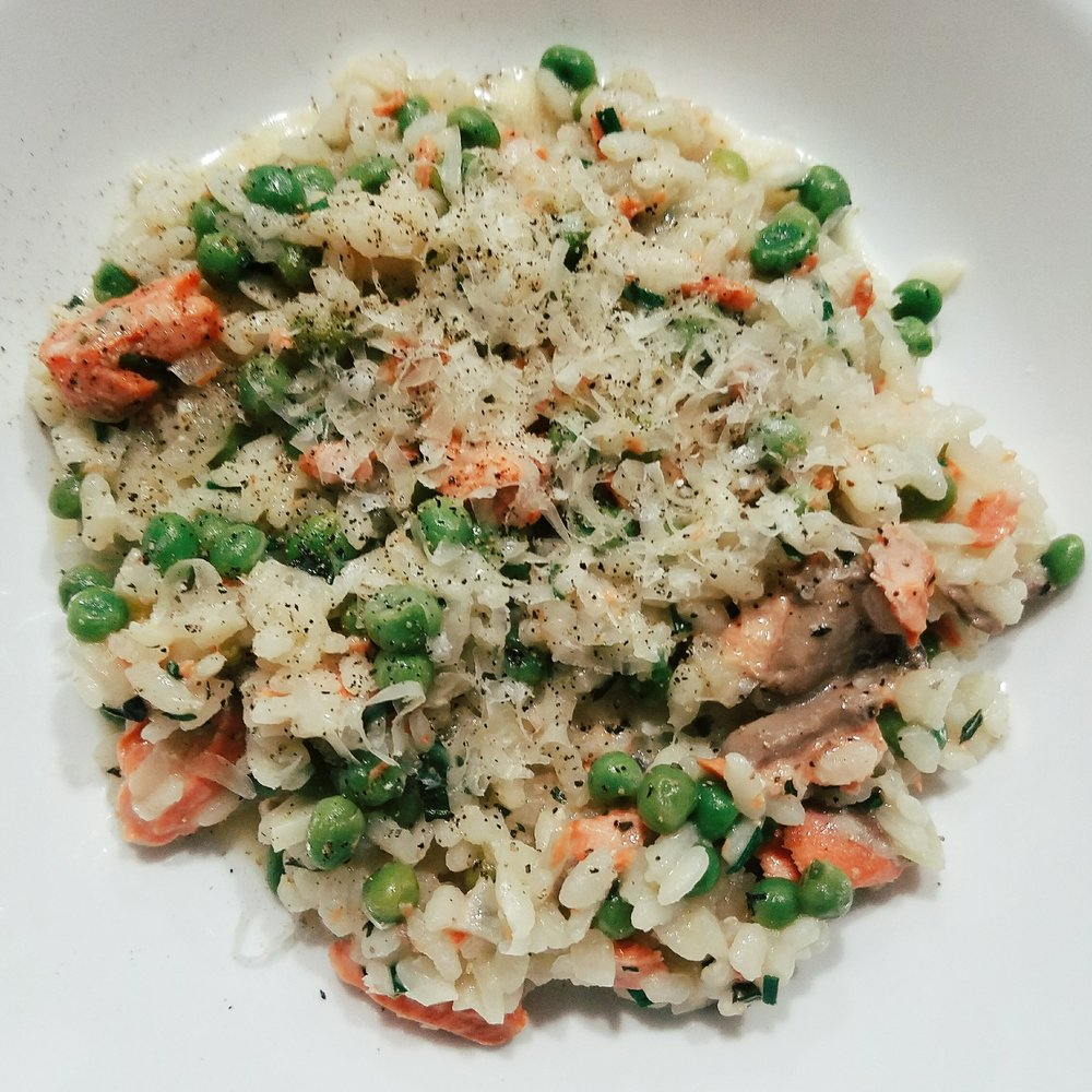 Pea risotto with leftover salmon thrown in turned out to be a new favorite!