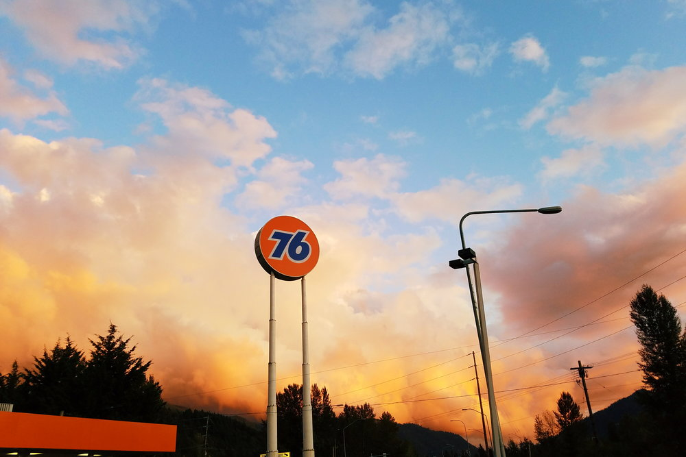Phenomenal Friday night sunset as seen from a gas station in Issaquah