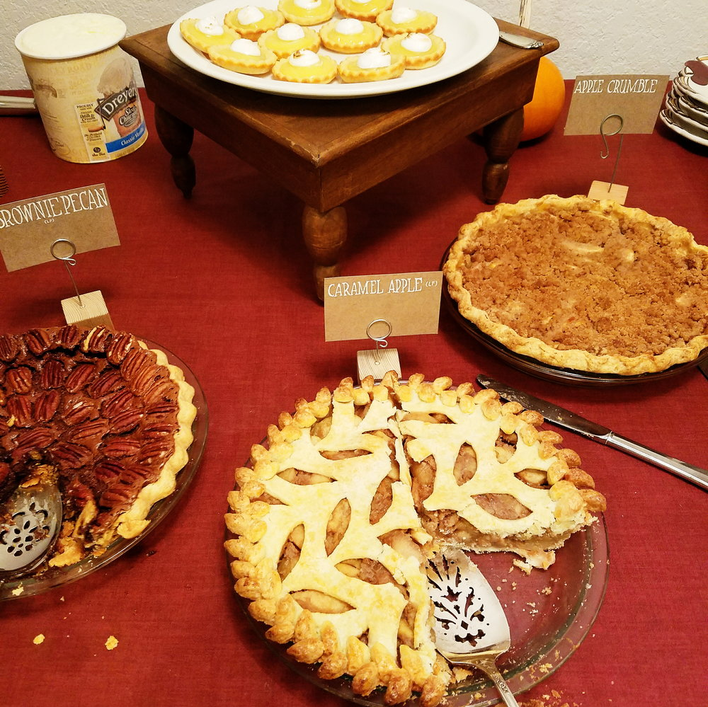 A delicious spread of pies at a friend's turkey soup & pie party