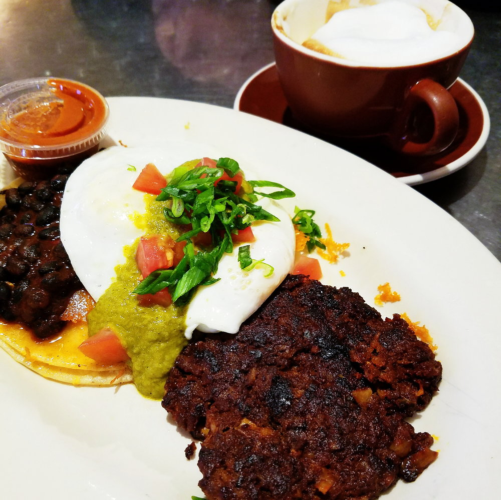Huevos Rancheros with a generous side of chorizo