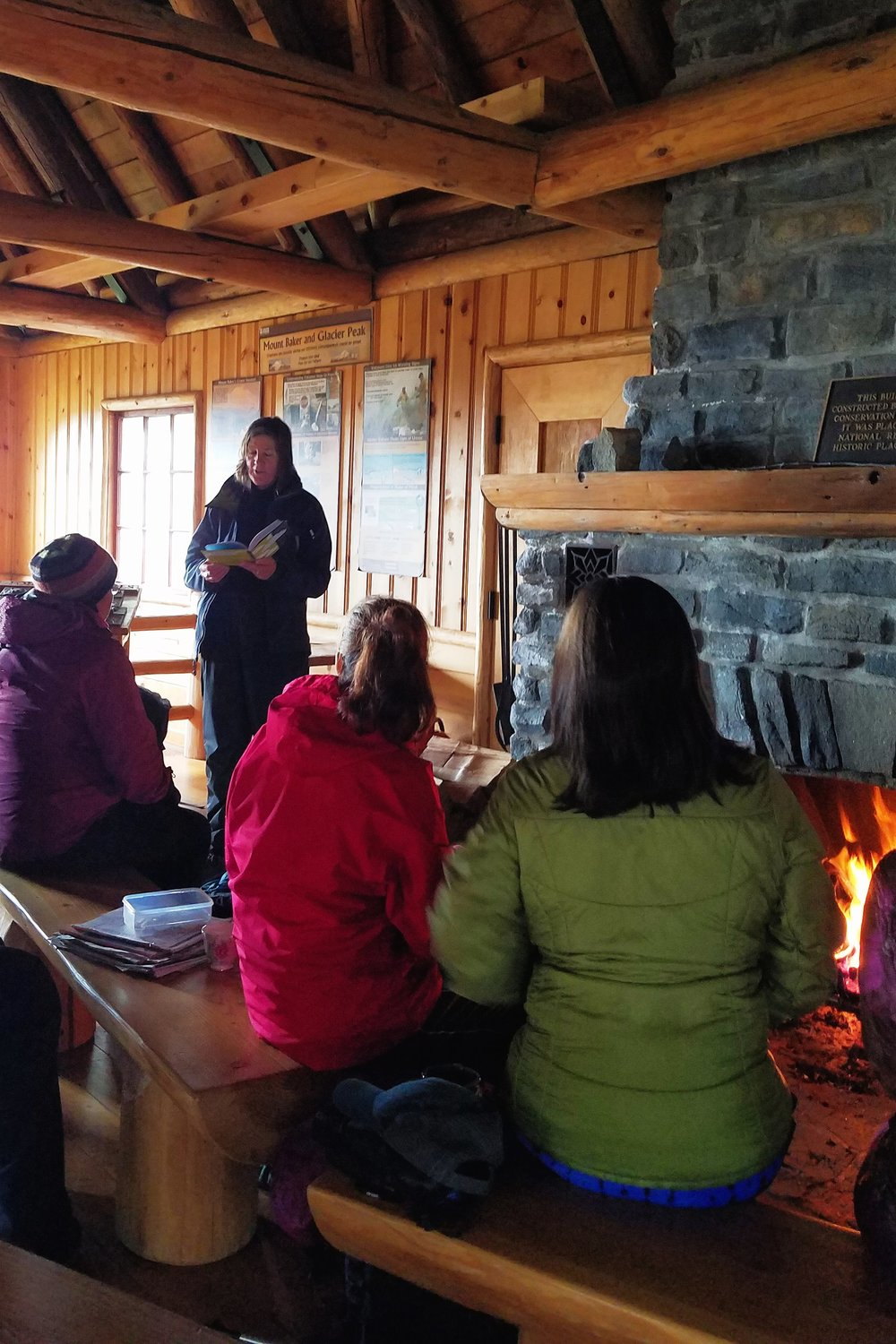 Author Maria Mudd Ruth reading while we warmed ourselves by the fire