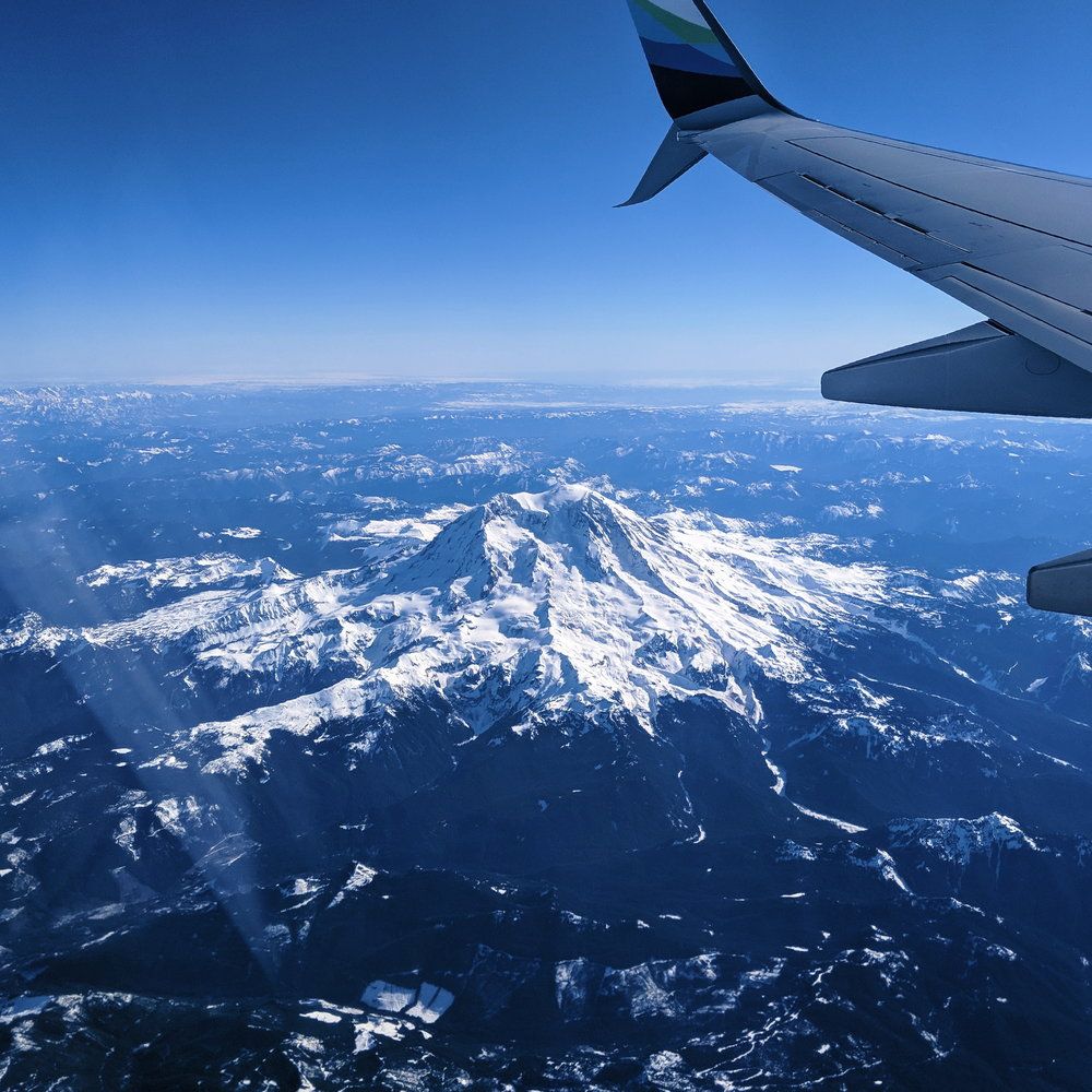 Rainier looking particularly lovely on my flight south