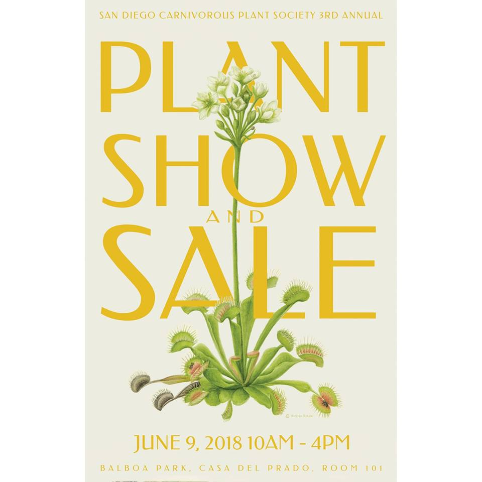 "Come join the SDCPS for our 3rd Annual Sale & Show.....it's FREE! Located at Balboa Park Casa Del Prado Room 101. 10am-4pm.  Kids table activities, People's Choice plant judging, LOTS of plants for show and sale! Predatory Plants and Xtreem Plants return as guest vendors! Come see and learn about plants that eat bugs! Visit the Balboa Park Botanical Building bog too!  If you are a SDCPS member interested in showing or selling plants or volunteering, please e-mail Allyson at ladynepenthes@yahoo.com. Please see the ""Contacts"" page for more information and how to find the SDCPS on FB and IG."