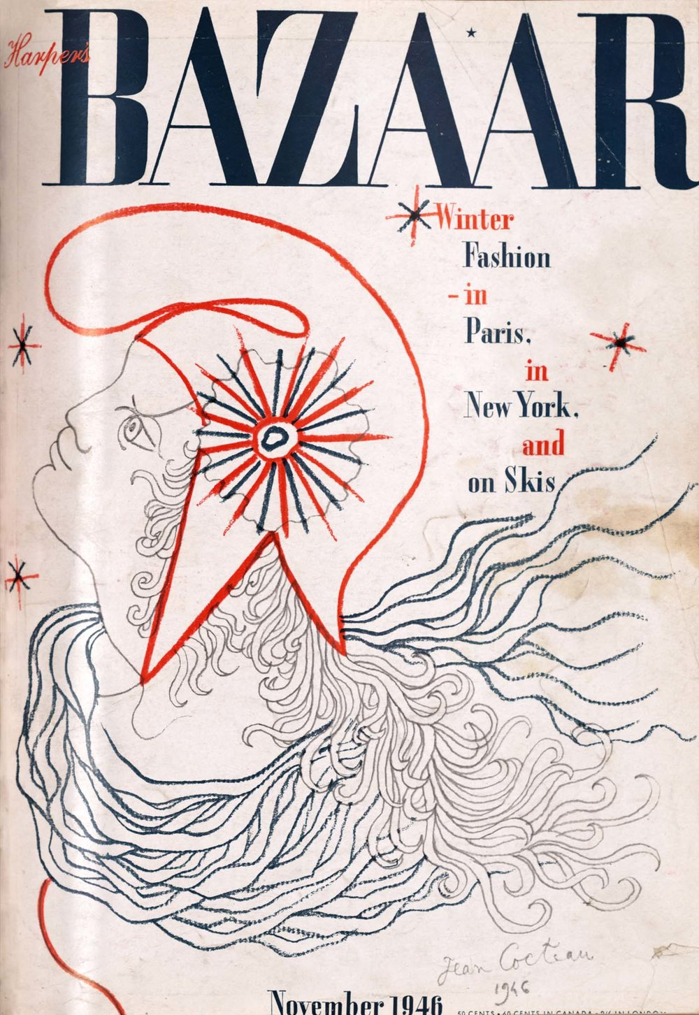 Harper's Bazaar,  November 1946 Cover by Jean Cocteau
