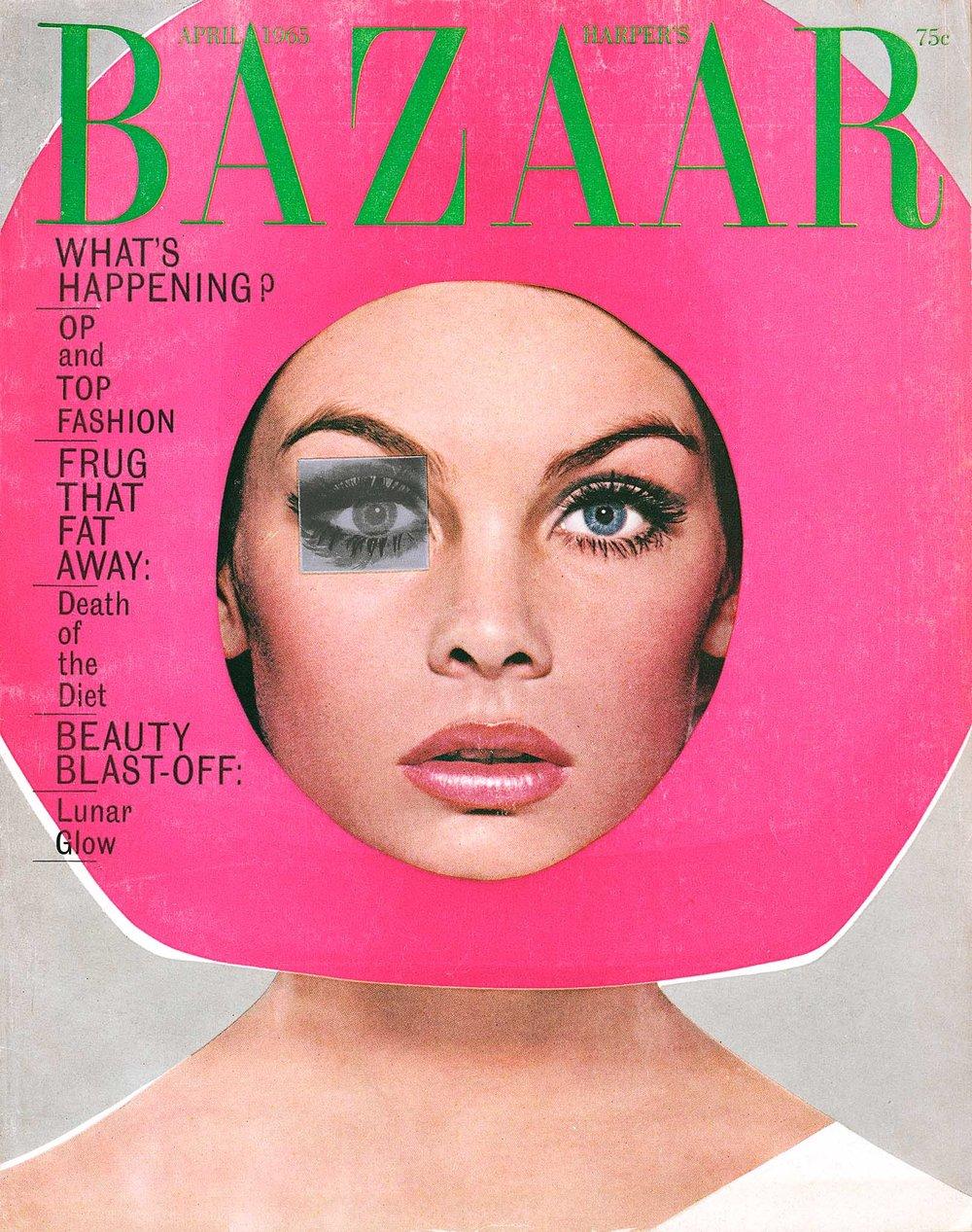 Jean Shrimpton, Helmet by Mr. John,  Harper's Bazaar Cover, 1965.jpg