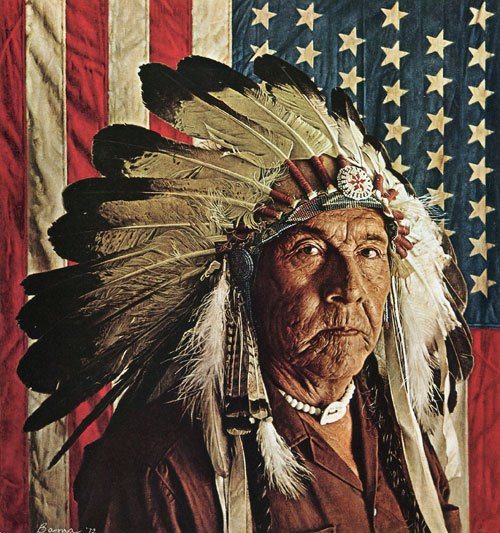 "James Bama - ""Chester Medicine Crow with His Father's Flag"""