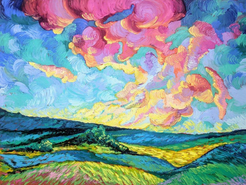 """Sky High Strawberry Pie"" - 36"" x 48"" - Oil on Wood Panel - Handmade Frame - $1725.00"