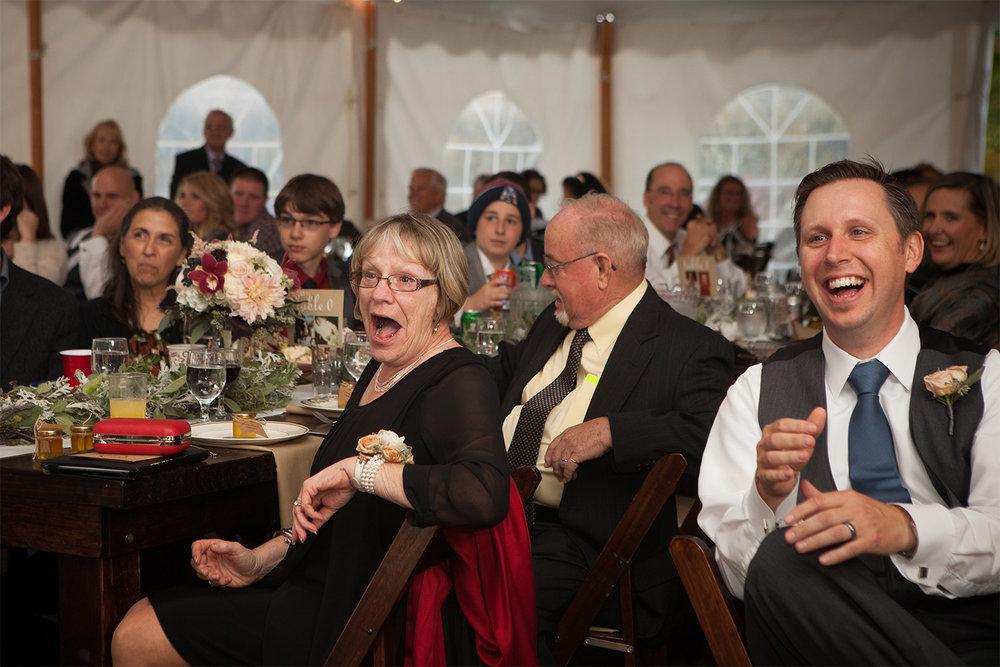 wedding guests reaction at monadnock berries jp langlands wedding photographer