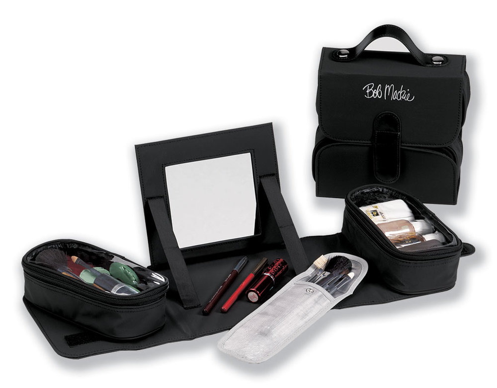 3604e7928 Bob Mackie Expandable 5-Piece Luggage Set - Black. 299.99. Bob Mackie Fold  Up Cosmetic Kit with Mirror