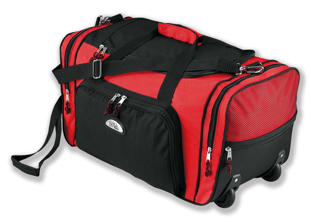 9e53c1aa8 Bob Mackie Wheeling Duffle Bag - Red