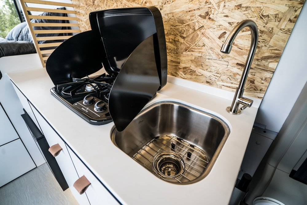 Sink and Dual-Burner Grill in the Biggie Campervan