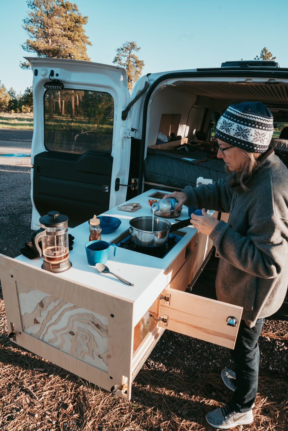 Cooking in the Smalls Campervan