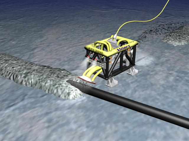 Dredging mode: the high water flow of the RTS 3000 can be directed to remove soil (dredging).