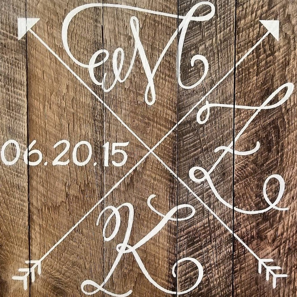 wedding logos on recycled barn wood