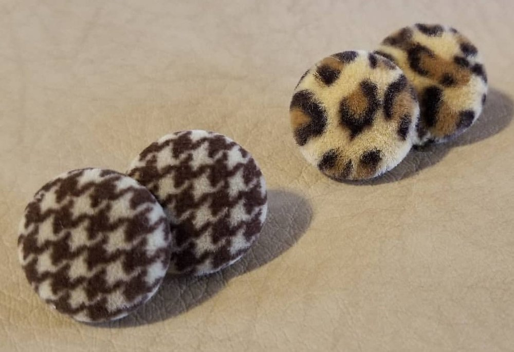 vintage material button stud earrings