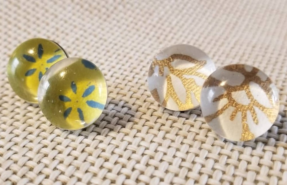 vintage paper under glass bead stud earrings