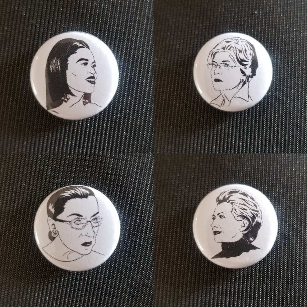 obama, warren, ginsburg and clinton button set