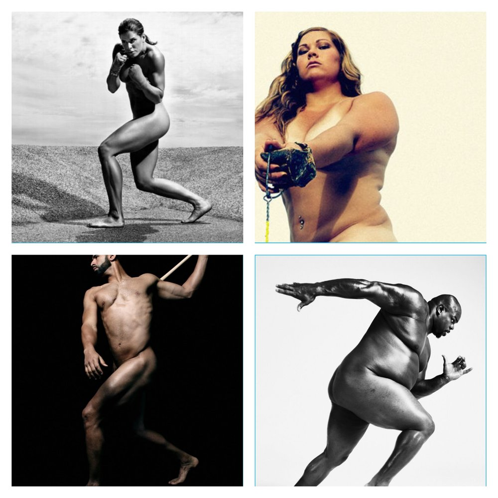 The infamous ESPN nude athlete shoots from top right (Pro Boxer Danyelle Wolf, Olympic Shotput athlete, Amanda Bingson, MLB athlete Jose Bautista, and NFL Vince Wilfork). All demonstrating that athletes come in all shapes and sizes.