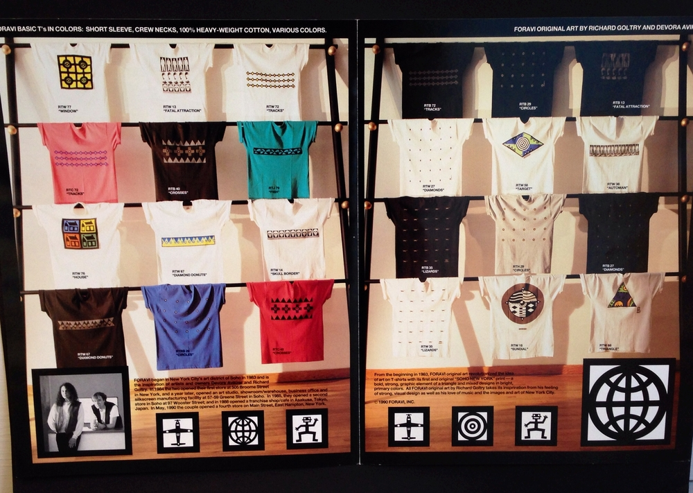 Graphic T-shirt Display   (Left Lower Corner) Foravi Founders and Designers:  Devora Avikzer Goltry  and  Richard Goltry.