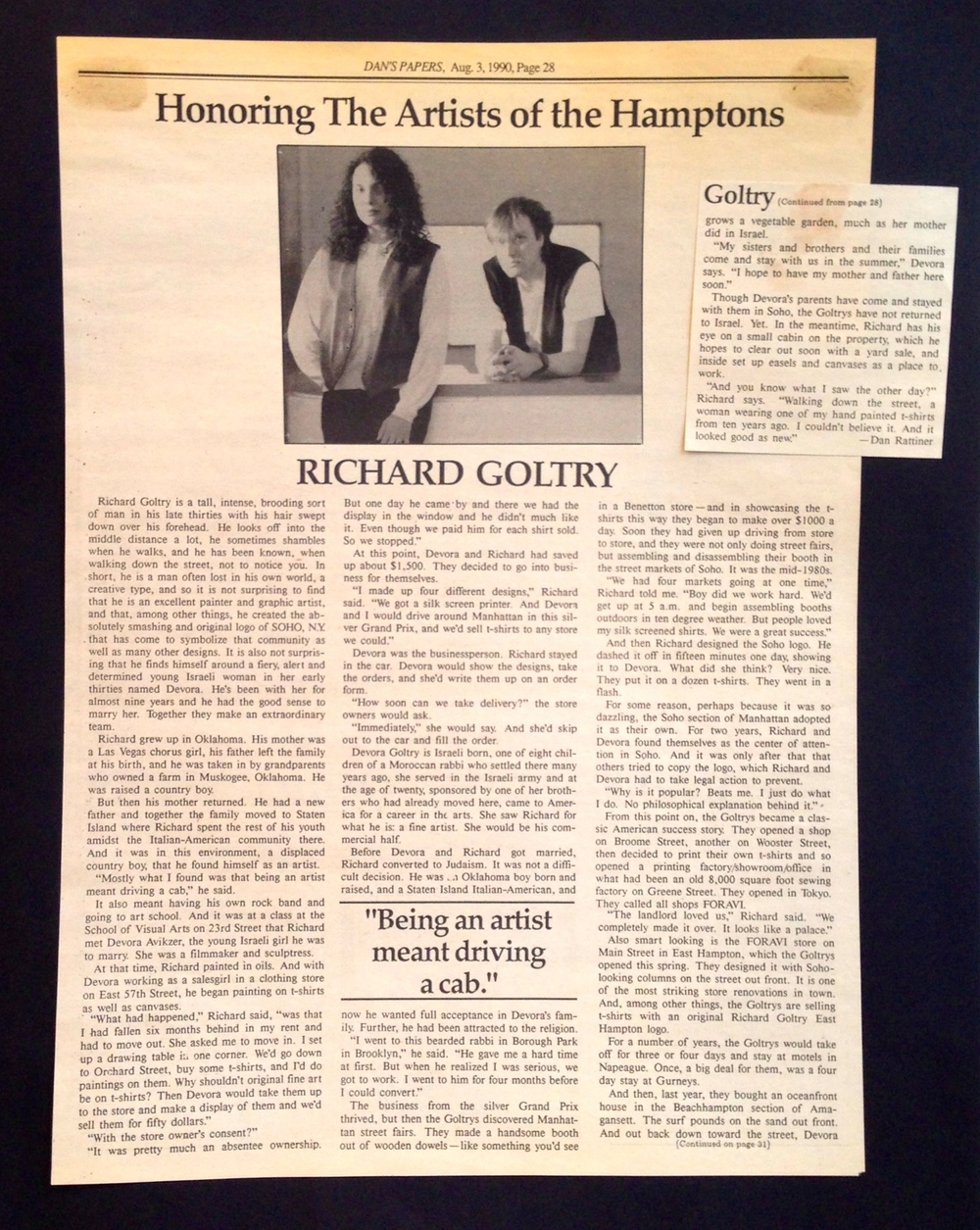 Dan's Paper  covering Devora Avikzer Goltry and Richard Goltry