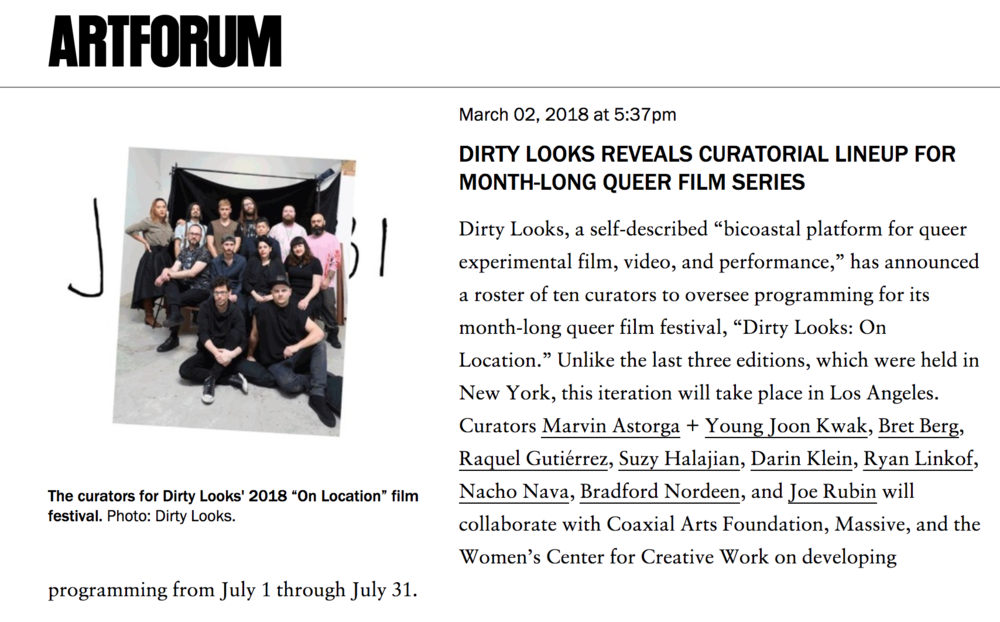 Dirty Looks Reveals Curatorial Lineup for Month-Long Queer Film Series  , Artforum
