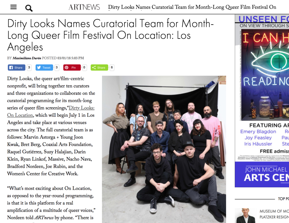 Maximiliano Durón,   Dirty Looks Names Curatorial Team for Month-Long Queer Film Festival On Location: Los Angeles  , Artnews