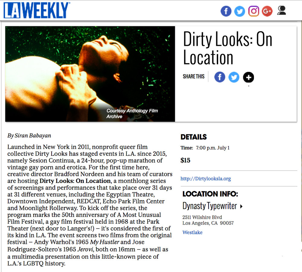 Siran Babayan, Dirty Looks: On Location,  LA Weekly