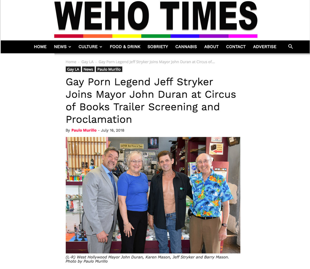 Paulo Murillo, Gay Pon Legend Jeff Stryker Joins Mayor John Duran at Circus of Books Trailer Screening and Proclamation,  WeHo Times