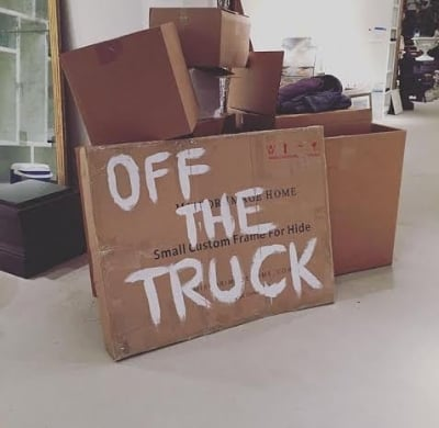 Homemade sign for our Off the Truck preview party