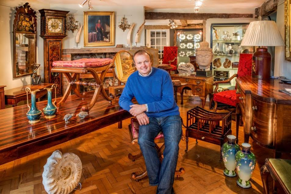 BILLY IN HIS ANTIQUE SHOP IN HUNGERFORD, JUST OUTSIDE OF LONDON.