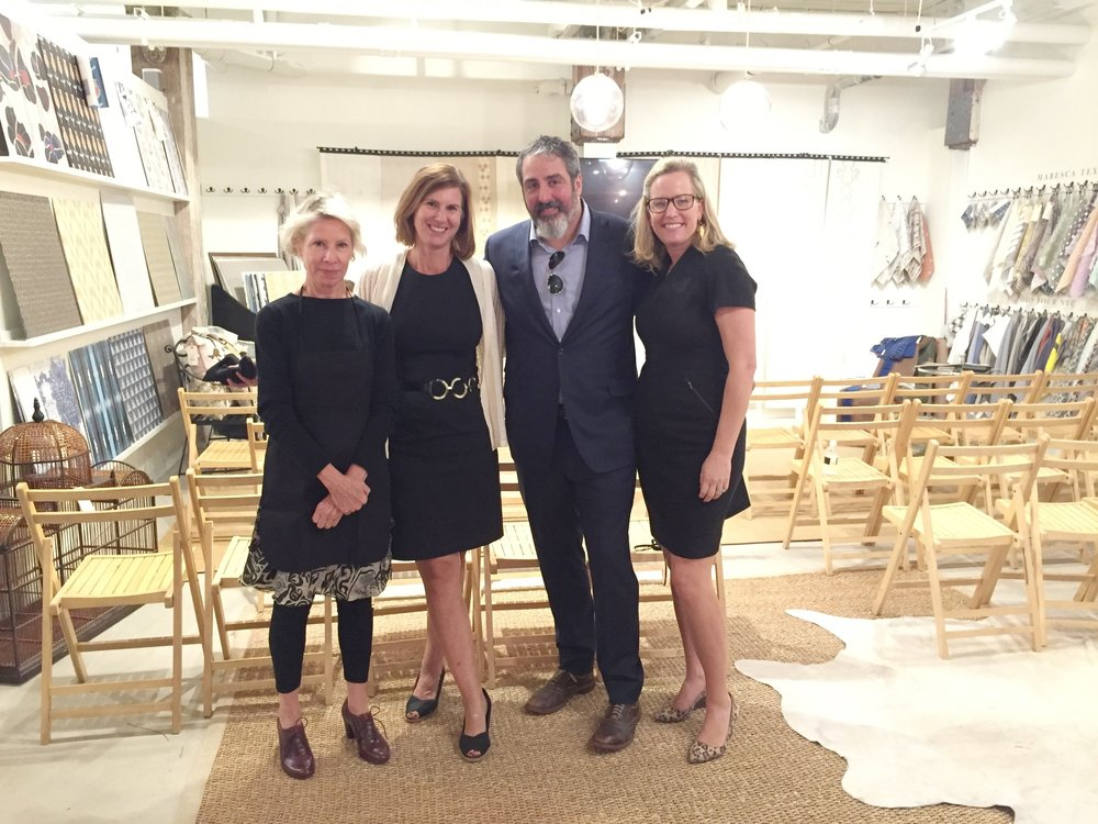 Fritz Porter Showroom Director, Becky LaRoche with road rep Caroline Halsey alongside Bryan Dicker and Sarah-Hamlin Hastings