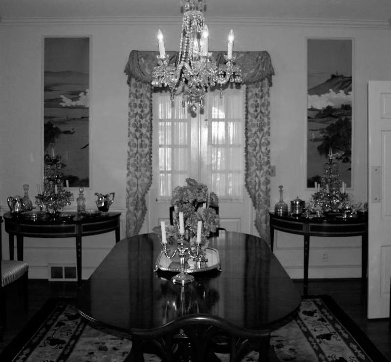 The dining room--BEFORE My favorite part are the wonderful Chinese hand painted panels Mams commissioned when they were traveling in Asia.