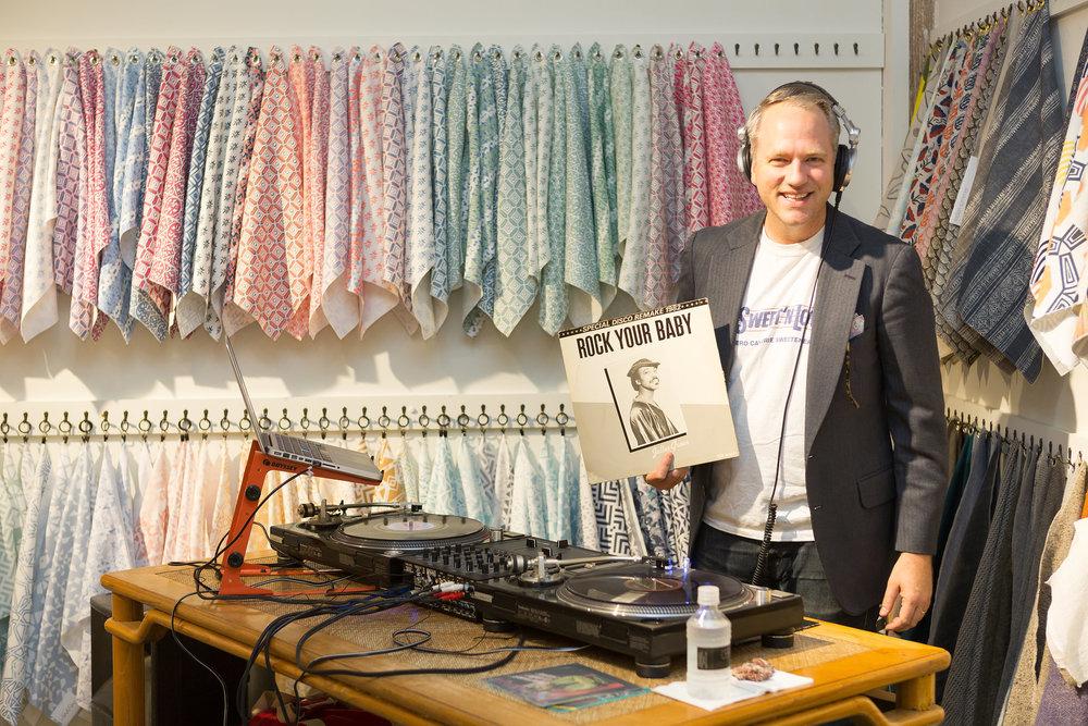 DJ John Zahl spinning tunes.