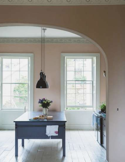 "Farrow & Ball paint color ""Dead Salmon"" was the perfect dusty pink  and created the backdrop for our Atelier (Photo: Getty Images)"