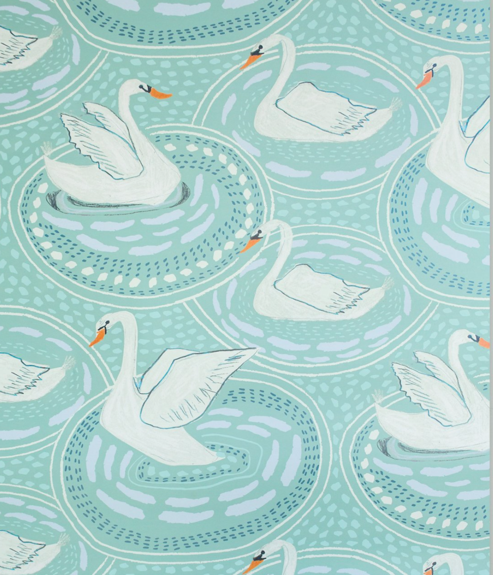 """Rosalie"" wallpaper in Misty Green from Lulie Wallace , available through FP Showroom"