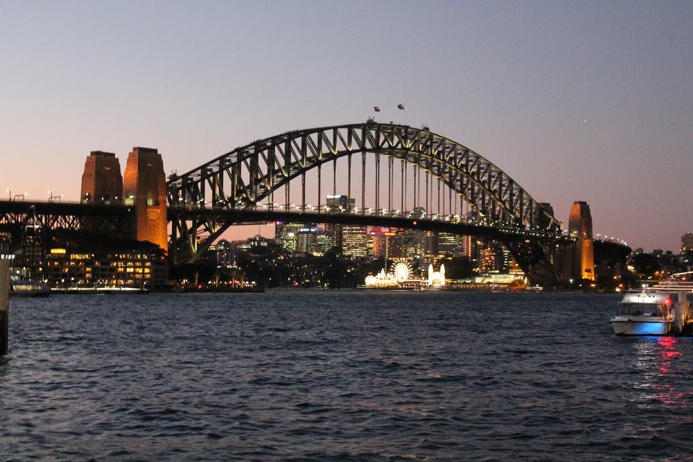 The Harbour bridge at night.