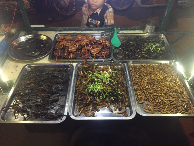 tarantulas, cockroaches, water beetles, snakes on a stick...yum??