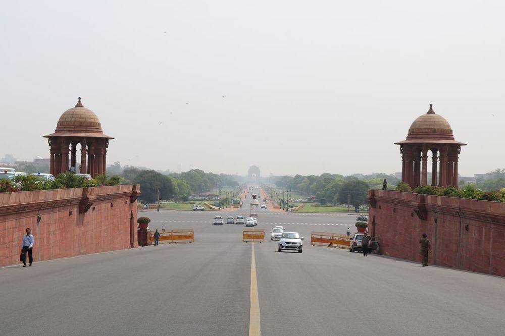 Looking out towards the India Gate