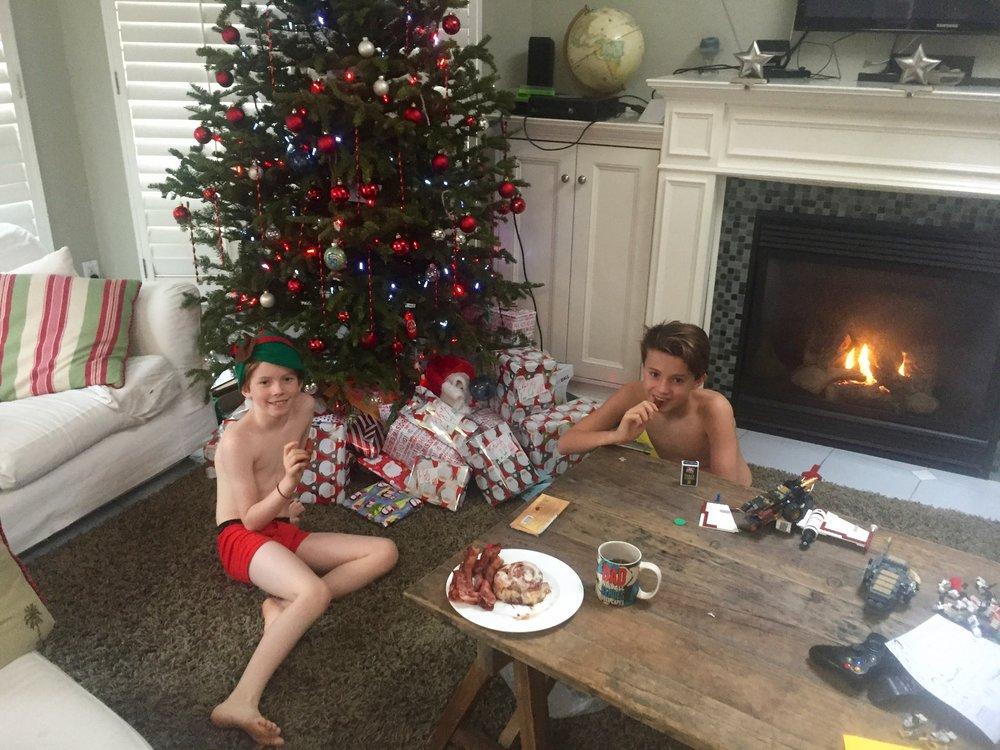 Christmas morning. Boxers, bacon and cinnabuns.