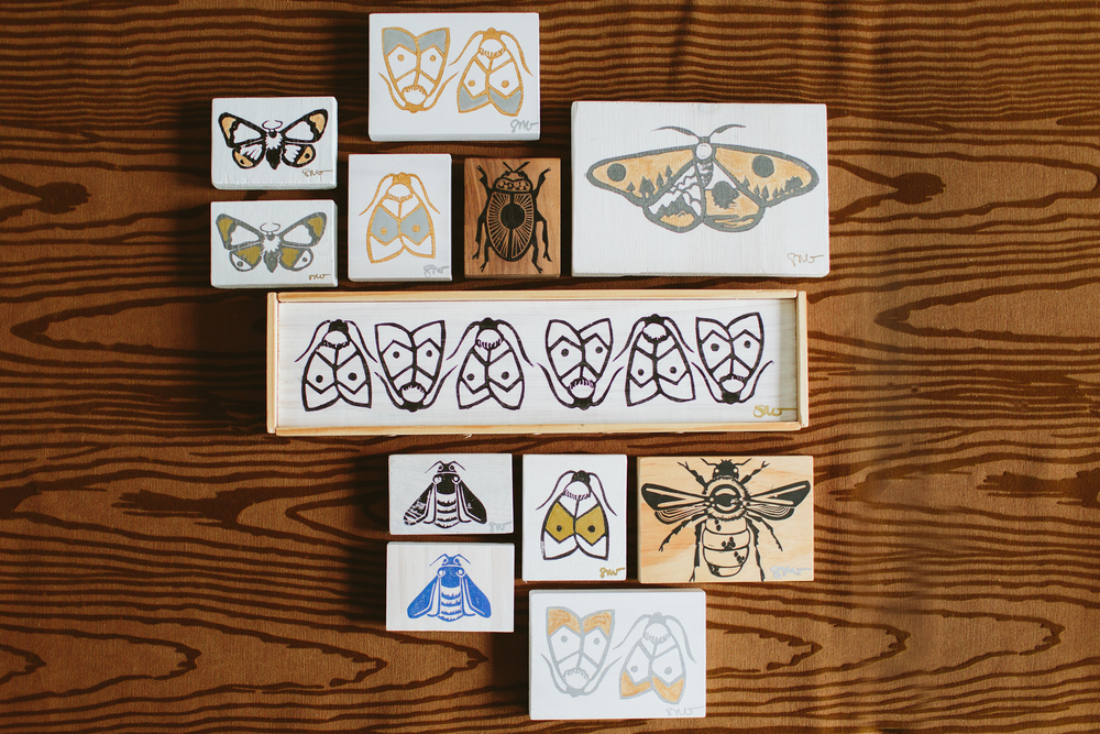 Printed Wood grouping. Photo by Angela Cox