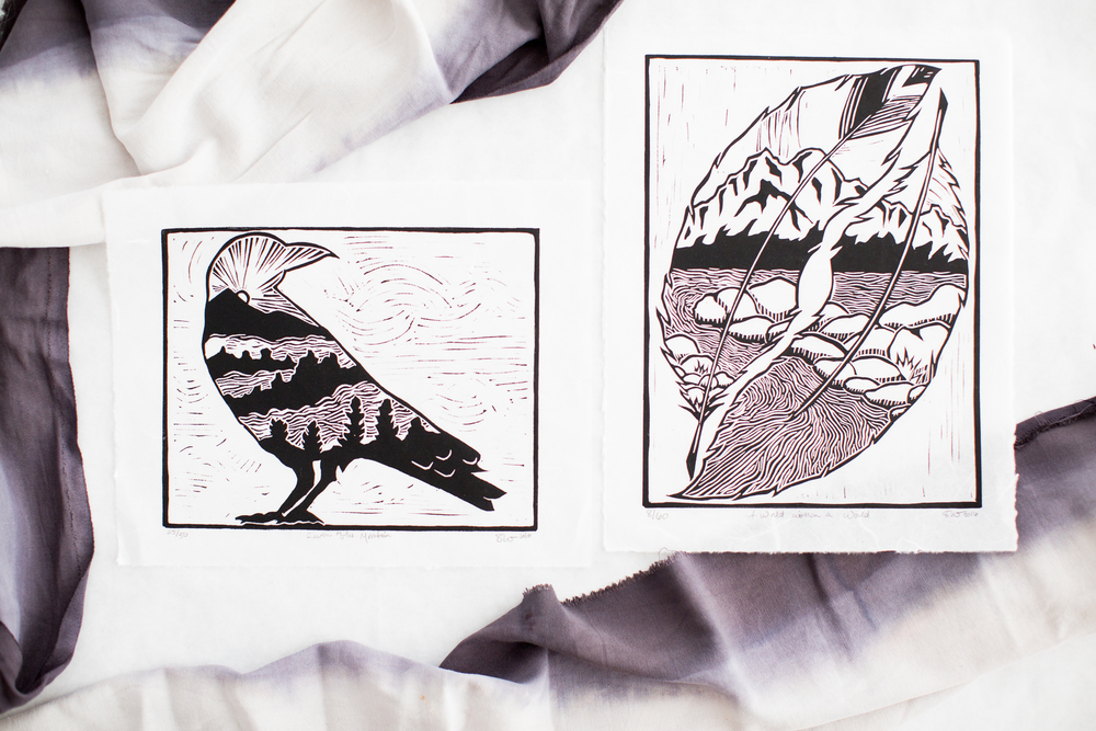 """Raven of the Mountain"" & A World within a World"" Handpulled Linocut Prints on Unryu"