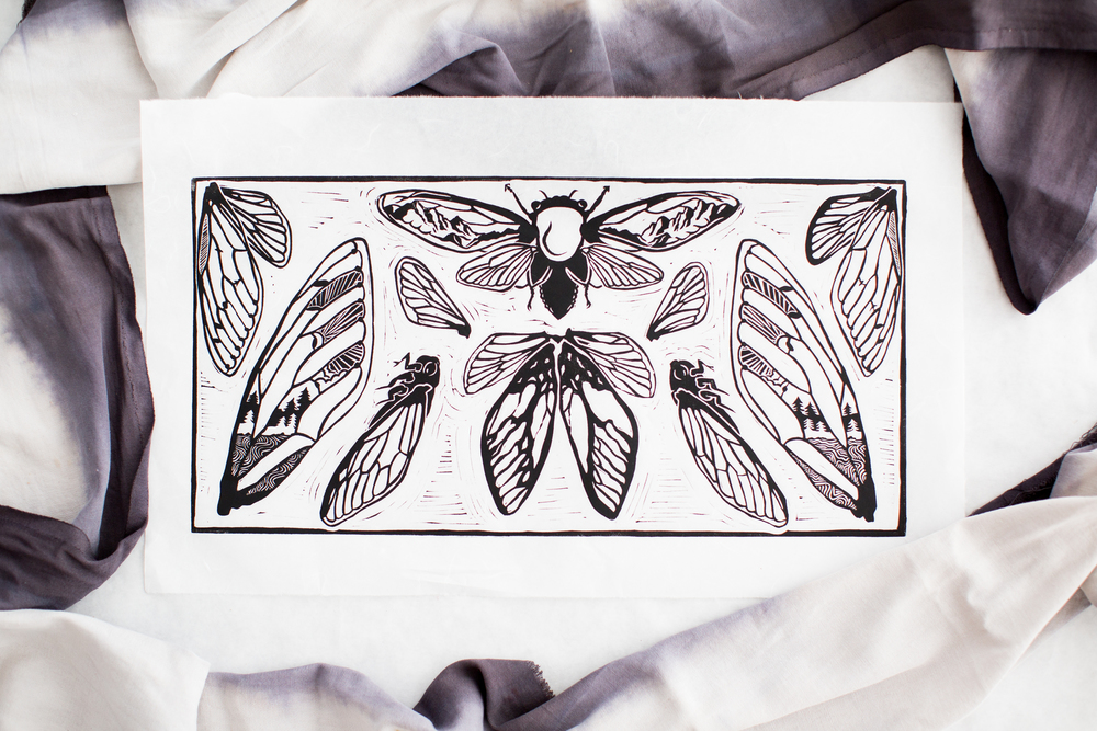 "Immortal Cicada, Hand Pulled Linocut on Unryu, 10""x 20"""