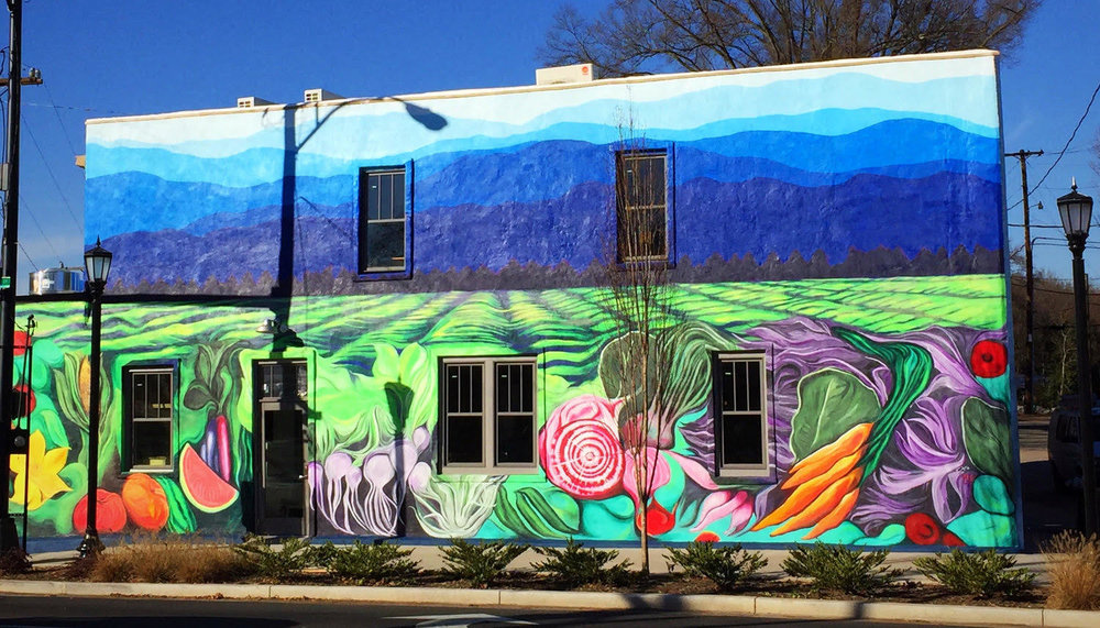 The Anchorage, located in the Village of West Greenville. The mural image is solely based on the logo I created for The Anchorage, was commissioned by Chef and Anchorage owner Greg McPhee, funded by Greenville's Art in Public Places grant and Community Journals, and completed in collaboration & execution with E. Kinney in 2016.