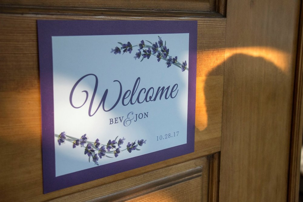 Bev & Jon Lavender Wedding Sign