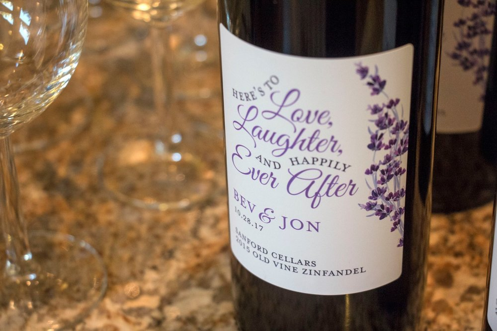 Ben & Jon Lavender Wedding custom wine label